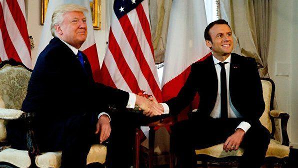Рукопожатие Трампа с Макроном