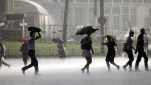 сообщение с предупреждением о дожде, грозе и граде