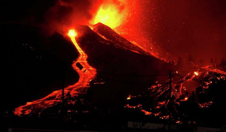 из-за извержения